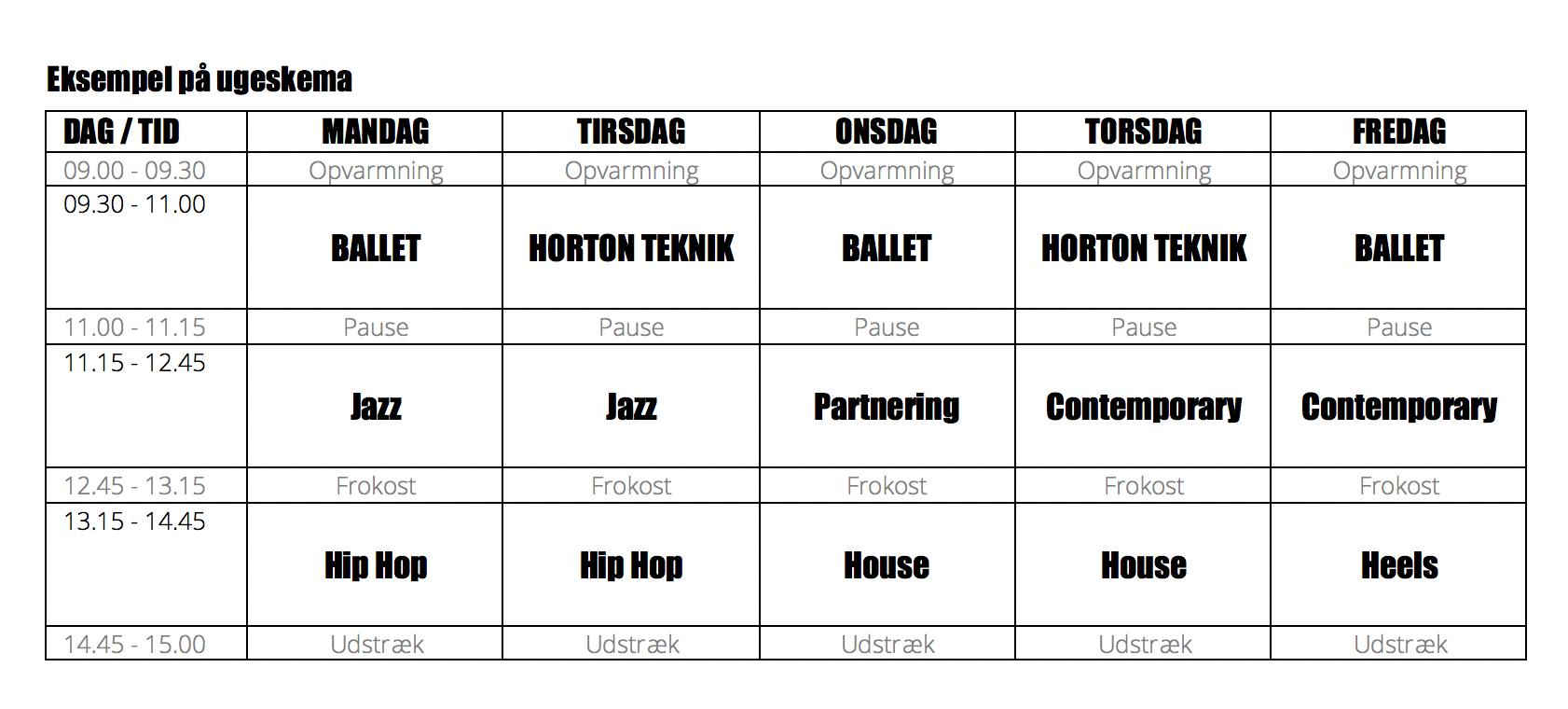 Danseuddannelsen skema